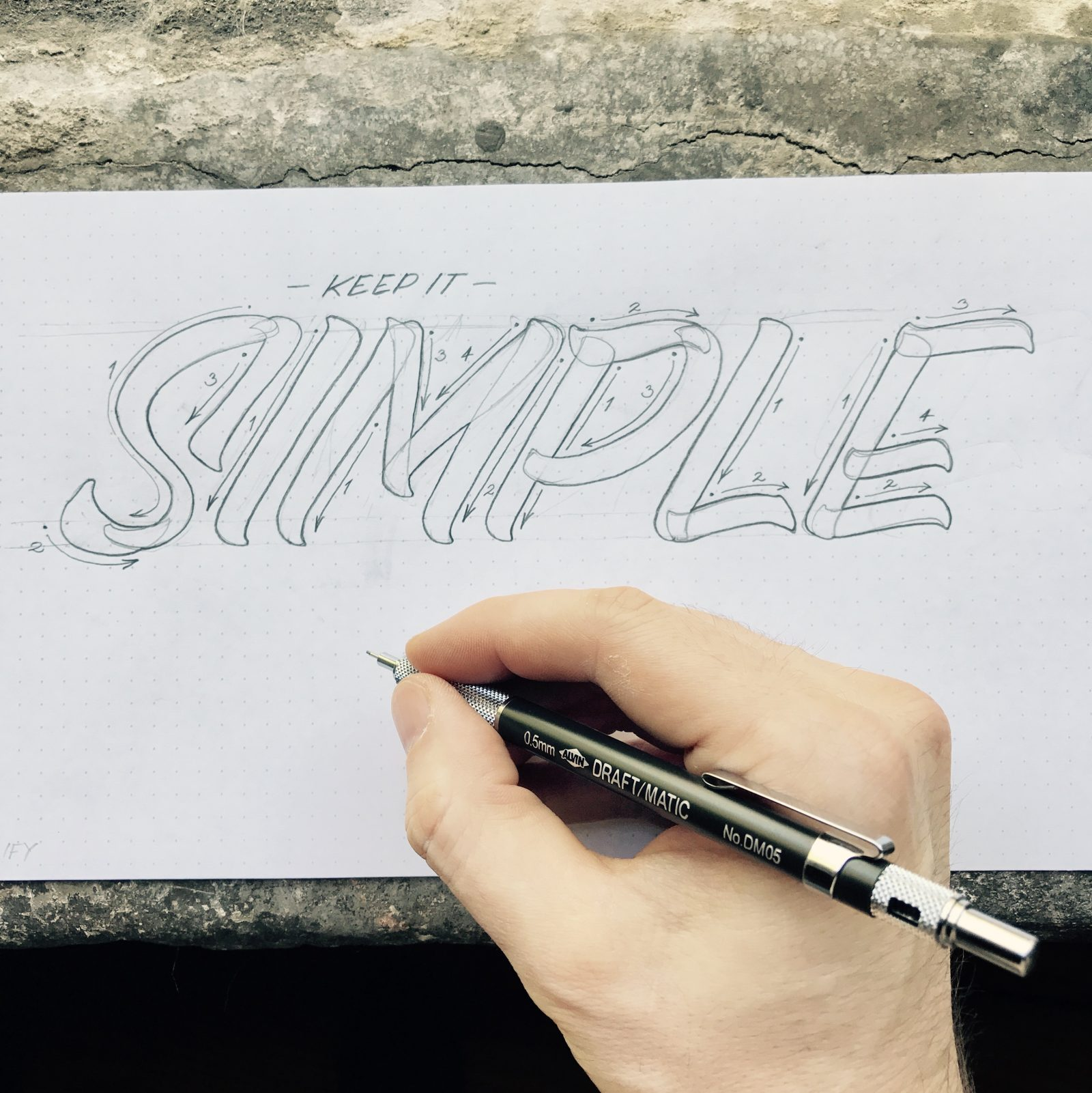 Keep It Simple concept casual lettering