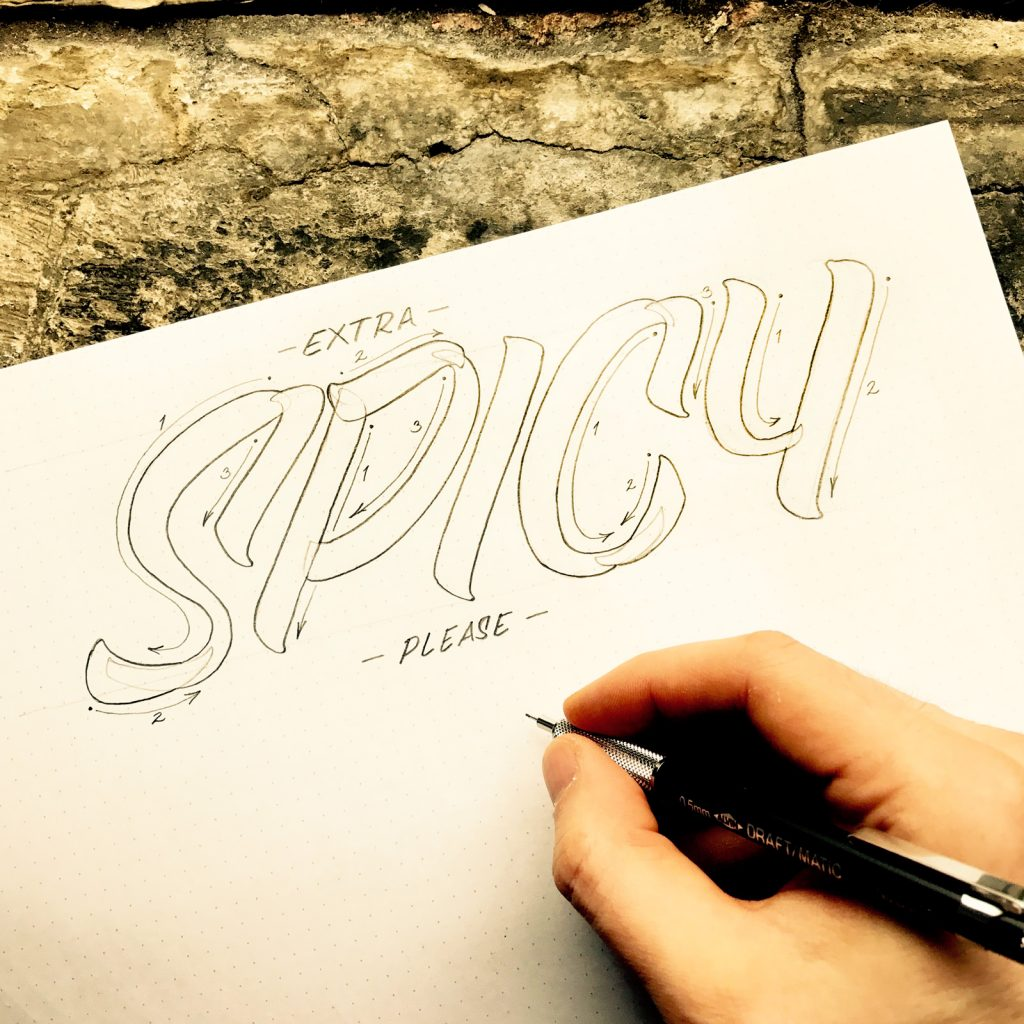 Extra Spicy casual lettering