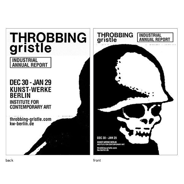 Poster for Throbbing Gristle art exibit in Berlin