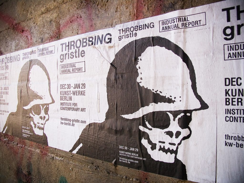 Throbbing Gristle two sided poster for Berlin Institute For Contemporary Art