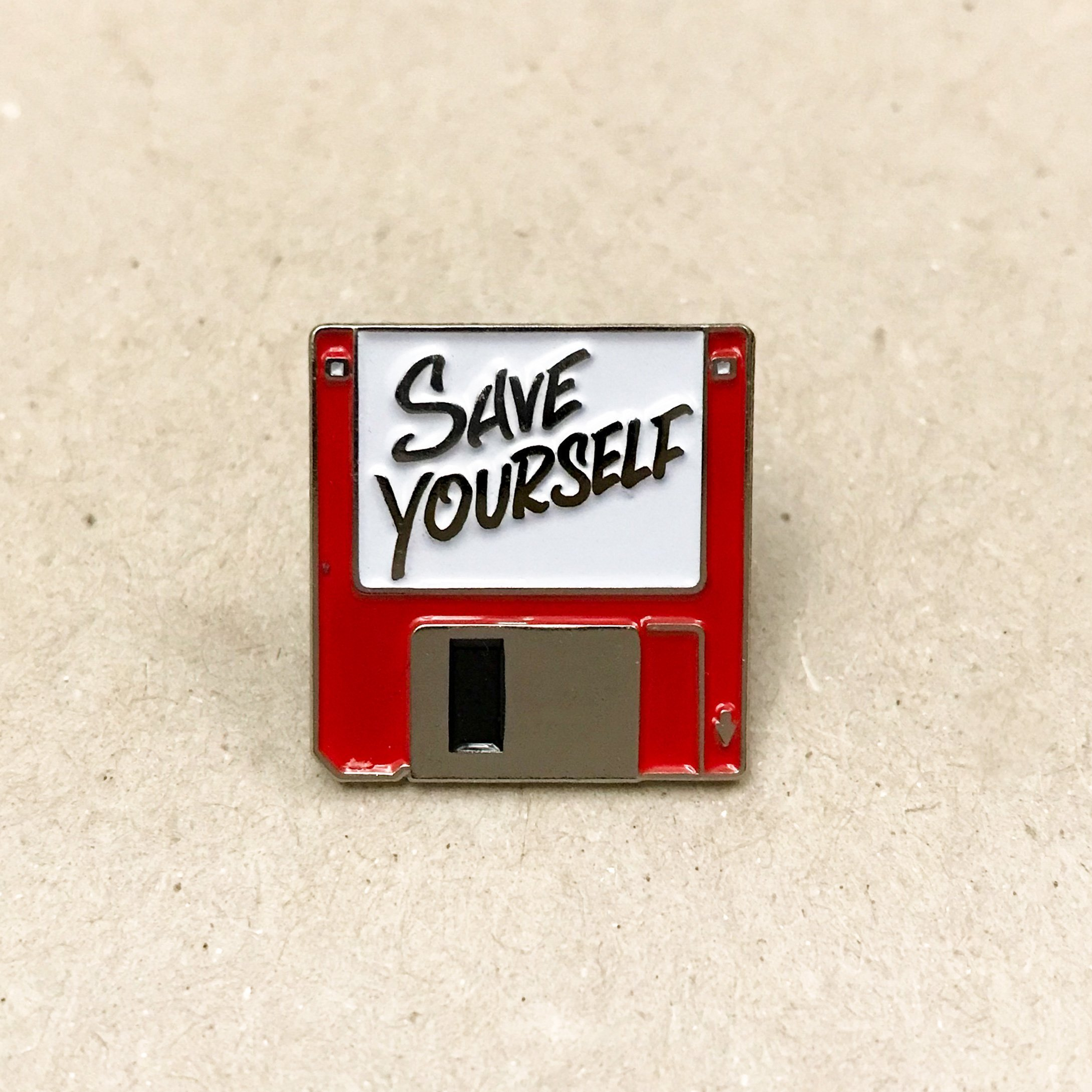 Save Yourself Pin Red