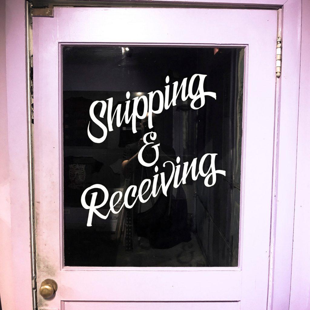 Shipping & Receiving sign at Danger Press